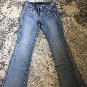 Medium-wash Bootcut Jean w/Silver accents